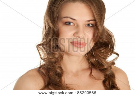 Picture Of A Gorgeous Woman Looking To The Camera Isolated