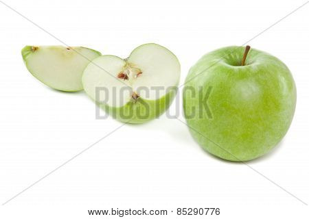 Sliced Green Apples On The White Background