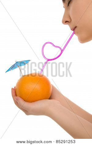 Woman's Lips With Fruit And Pink Straw Isolated