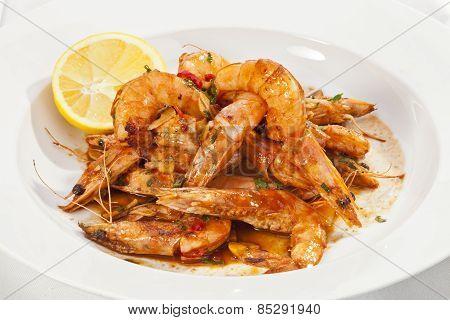 Shrimps Prepared With Garlic, Chili, White Wine And Balsamic Vinegar