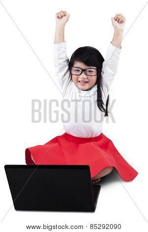 Excited Little Girl Celebrate Her Success