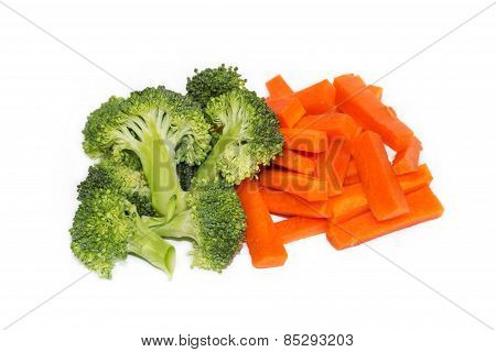 Fresh Carrots And Broccoli On A White Background