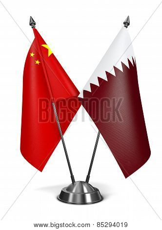 China and Qatar - Miniature Flags.