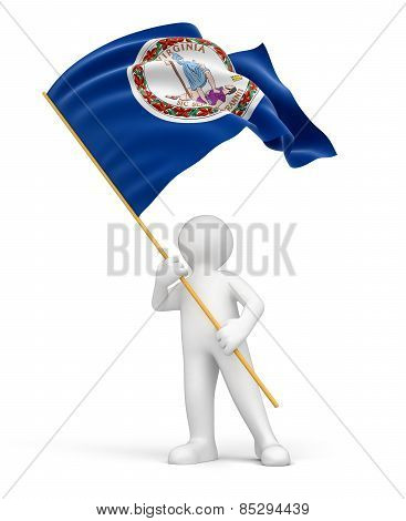 Man and flag of Virginia (clipping path included)