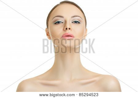 beauty woman with blue make-up looking in camera