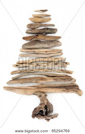 Driftwood tree abstract over a white background