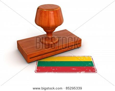Rubber Stamp Lithuanian flag (clipping path included)