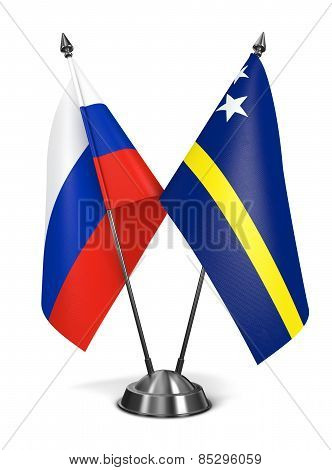 Russia and Curacao - Miniature Flags.