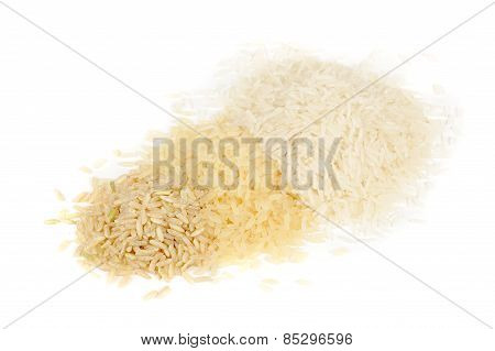 Brown, Parboiled And White Rice Isolated On White Background