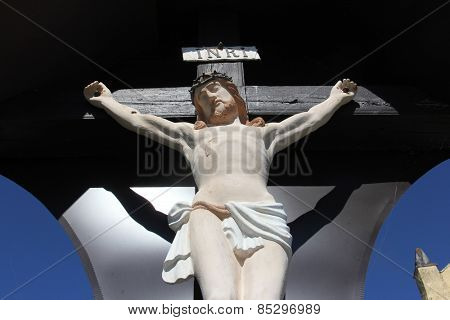 ZAGORJE, CROATIA - SEPTEMBER 24: Roadside Crucifix in Zagorje region, Croatia on September 24, 2014.