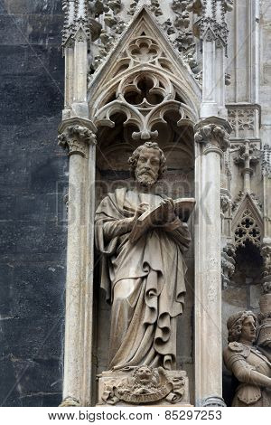 VIENNA, AUSTRIA - OCTOBER 10: Saint Mark the Evangelist at St Stephans Cathedral in Vienna, Austria on October 10, 2014