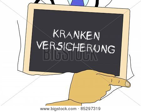 Illustration: Doctor Shows Information: Health Insurance In German