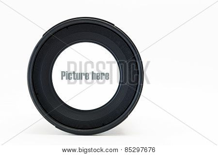 Front View Of Camera Lens With White Space On Glass Lens On White Background