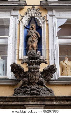 GRAZ, AUSTRIA - JANUARY 10, 2015: Imperial eagle emblem in Graz, Styria, Austria on January 10, 2015.