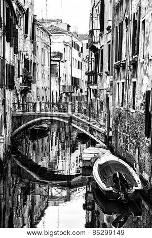 Traditional Venetian Canal. Italy Black and White