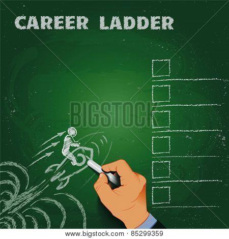 career ladder chalk on a blackboard business concept