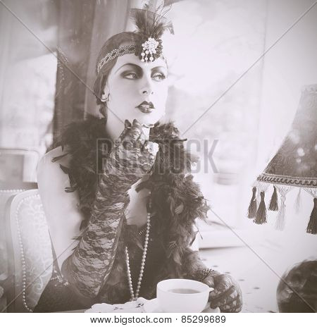 Retro Woman 1920S - 1930S Sitting In The Cafe