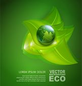 picture of globe  - vector abstract background for ecological design with a leaf - JPG