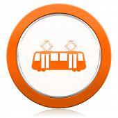 pic of tram  - tram orange icon public transport sign  - JPG