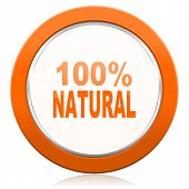 foto of 100 percent  - natural orange icon 100 percent natural sign  - JPG