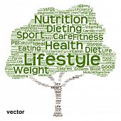 pic of medical  - Vector concept or conceptual green text word cloud or tagcloud tree isolated on white background - JPG