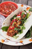 stock photo of ground-beef  - Mexican tortilla wrap - JPG