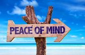 image of peace-sign  - Peace of Mind wooden sign with beach background - JPG