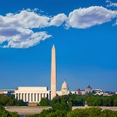 picture of abraham  - Washington DC skyline with Monument Capitol and Abraham Lincoln memorial - JPG