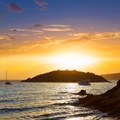 picture of elm  - Majorca sunset in sant Elm near sa Dragonera at Mallorca Balearic islands of spain - JPG