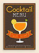 picture of cocktail menu  - Vintage Cocktail menu card design for club - JPG