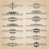 picture of decorative  - Vector set of decorative calligraphic ornate headpieces - JPG