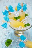 picture of popsicle  - Fruit ice cream popsicle in glass bowl - JPG