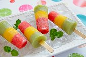 image of popsicle  - Homemade pureed fresh fruit popsicles with strawberry - JPG