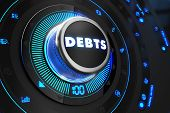 picture of debenture  - Debts Button with Glowing Blue Lights on Black Console - JPG