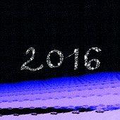 pic of imaginary  - Decorative white inscription 2016 front snowy fractal imaginary landscape - JPG
