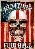 picture of apparel  - American football Skull Vintage vector print for boy sportswear in custom colors - JPG