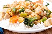 pic of kadai  - thai red curry chicken with white rice and vegetables  - JPG