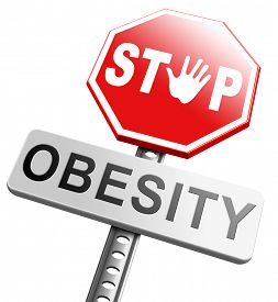 stock photo of obese children  - obesity prevention stop over weight start campaign with low fat diet for obese children and adults with eating disorder - JPG