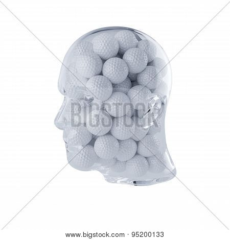 Glass Transparent Human Head Filled With Golf Balls