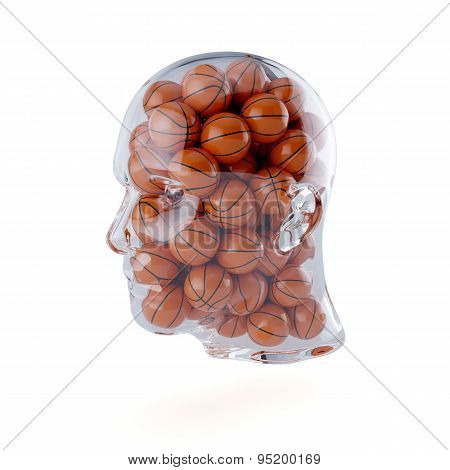 Transparent Human Head Filled With Basketball Balls