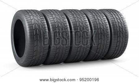 Unused Car Tires Row Isolated