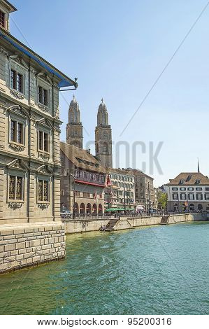 Zurich City Center Skyline And Limmat Quay In Summer, Switzerland