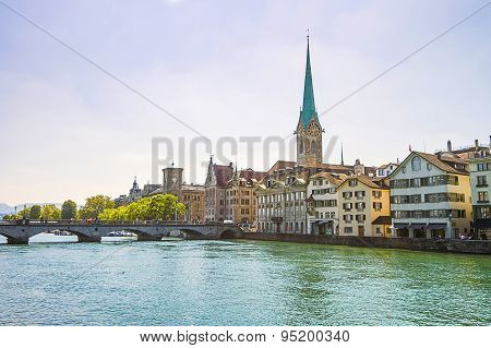 Zurich City Center Skyline And Limmat Quay