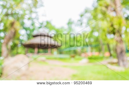 Image Of Blur Hut In The Forest For Resting And Relaxing In