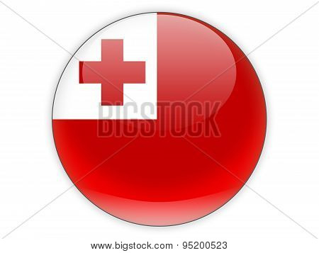 Round Icon With Flag Of Tonga