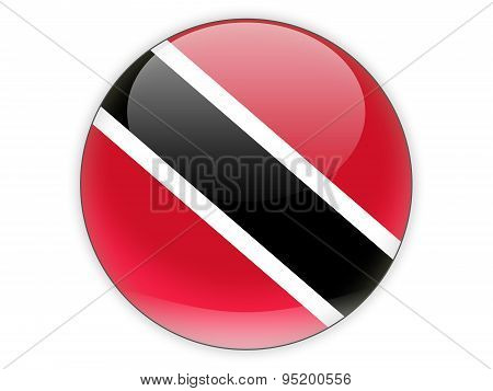 Round Icon With Flag Of Trinidad And Tobago