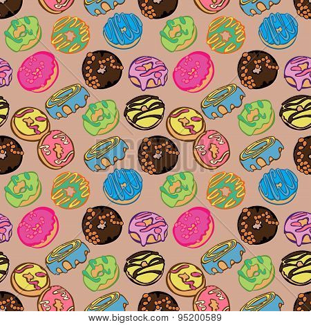 Colorful donuts. Sweets in hand drawn style. Vector seamless hand drawn pattern