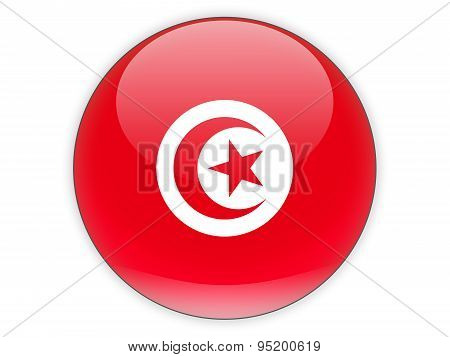 Round Icon With Flag Of Tunisia