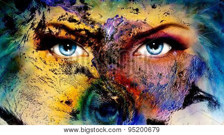Planet Earth And Blue Human Eye With Violet And Pink Day Makeup. Woman Eye Painting