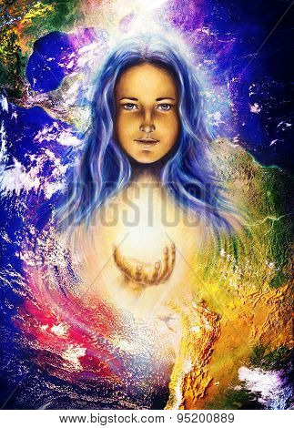Mystic Woman And Earth Collage. Woman Illustration